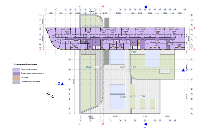 Гостиничный комплекс RADISSON BLU MOSCOW RIVERSIDE HOTEL&SPA. План 9-18 этажей © Архитектурное бюро Асадова; ГрандПроектСити; МАХПИ