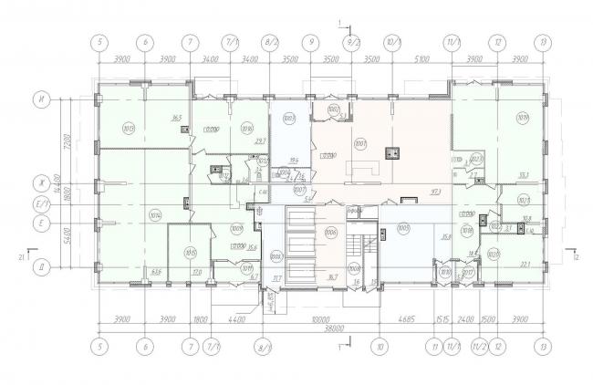 Жилой дом «Клевер». План 1 этажа © Архитектурное бюро «А.Лен»