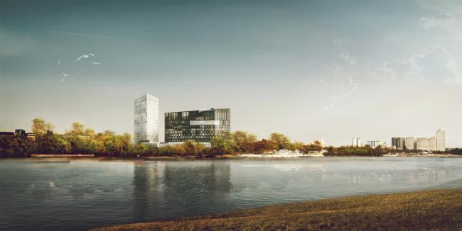 Конкурсный проект гостиничного комплекса Radisson Blu Moscow Riverside Hotel&SPA © Архитектурная мастерская «А.Лен»