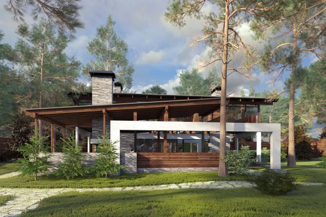 Проект гостевого дома Forester shack. Вид на дом со стороны веранды с барбекю © Архитектурное бюро Романа Леонидова
