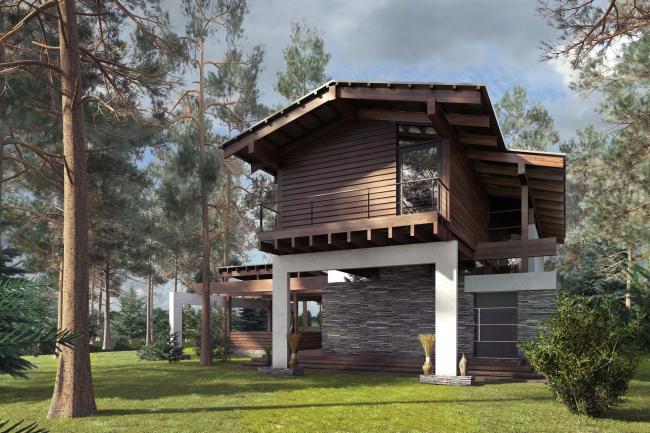 Проект гостевого дома Forester shack © Архитектурное бюро Романа Леонидова
