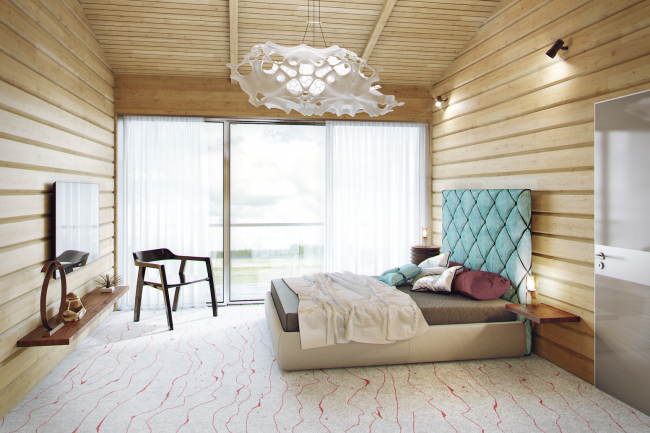 Проект гостевого дома Forester shack. Интерьер © Архитектурное бюро Романа Леонидова