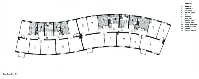 Жилой дом Serpentin («Серпантин»). Оригинальный план. Изображение предоставлено RVA