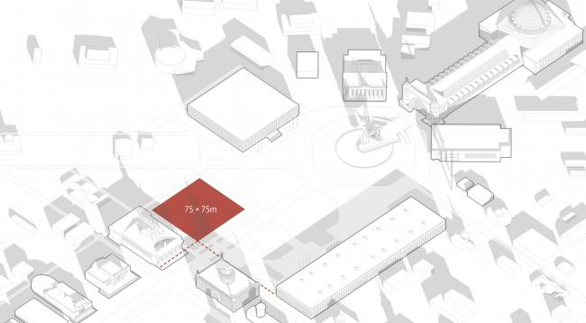 Павильон «Росатома» на ВДНХ. Размеры участка © UNK project