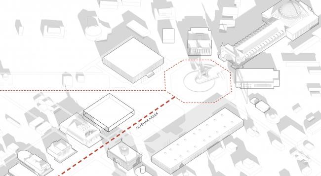 Павильон «Росатома» на ВДНХ. Основные пешеходные маршруты © UNK project