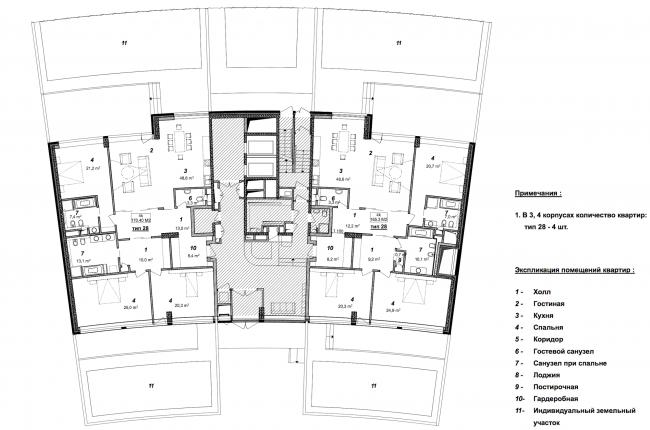 «Сколково-парк». План 1 этажа 3, 4 корпусов, 2010 © ТПО «Резерв»