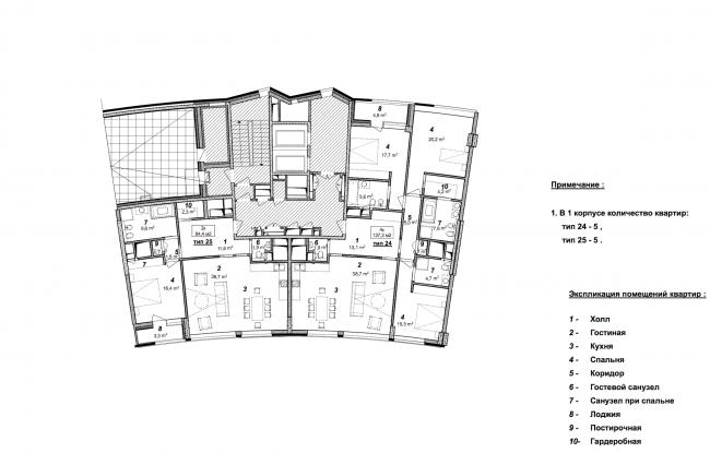 «Сколково-парк». План 9 этажа 1 корпуса, 2010 © ТПО «Резерв»