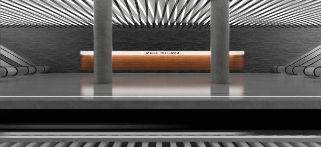 Станция московского метрополитена «Нижние Мневники». Платформа. Конкурсный проект, 2015 © ДНКаг