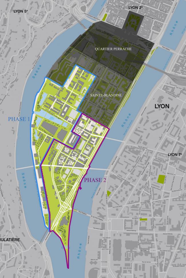 Секторы района и фазы его реконструкции. (информация с сайта http://www.lyon-confluence.fr/)