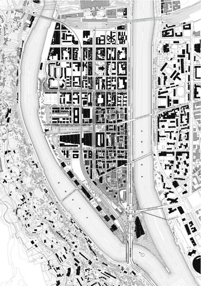 Схема планировки Лион-Конфлюанс © Herzog & de Meuron