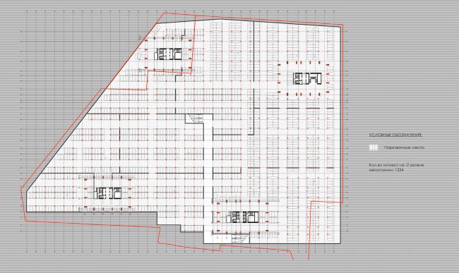 Многофункциональный жилой комплекс в 5-ом Донском проезде. План -2 этажа. Проект, 2015 © Архитектурная мастерская «Группа АБВ»