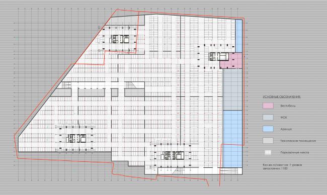 Многофункциональный жилой комплекс в 5-ом Донском проезде. План -1 этажа. Проект, 2015 © Архитектурная мастерская «Группа АБВ»