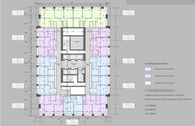 Многофункциональный жилой комплекс в 5-ом Донском проезде. План типового этажа. Проект, 2015 © Архитектурная мастерская «Группа АБВ»
