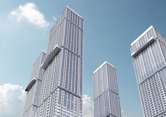 Многофункциональный жилой комплекс в 5-ом Донском проезде. 4 башни. Вариант 3. Проект, 2015 © Архитектурная мастерская «Группа АБВ»