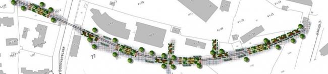 Предложение команды 123 – создание пешеходного Крошечного бульвара на месте бывших железнодорожных путей © Команда 123