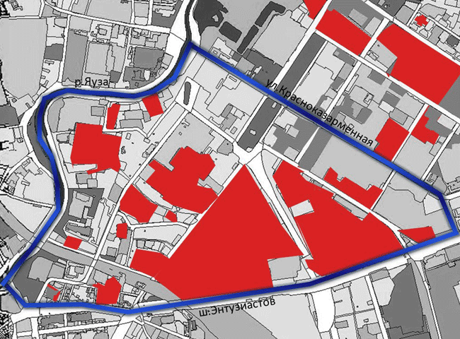 Территория изучения в рамках проекта VIVA-Лефортово. Красным цветом выделены территории промышленных зон © Команда 123