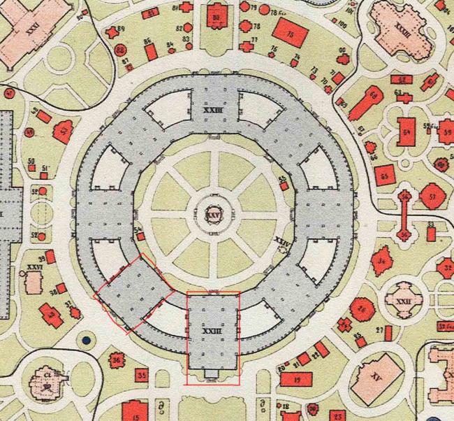 План центрального здания Всероссийских выставок в Москве (1882) и в Нижнем Новгороде (1896).