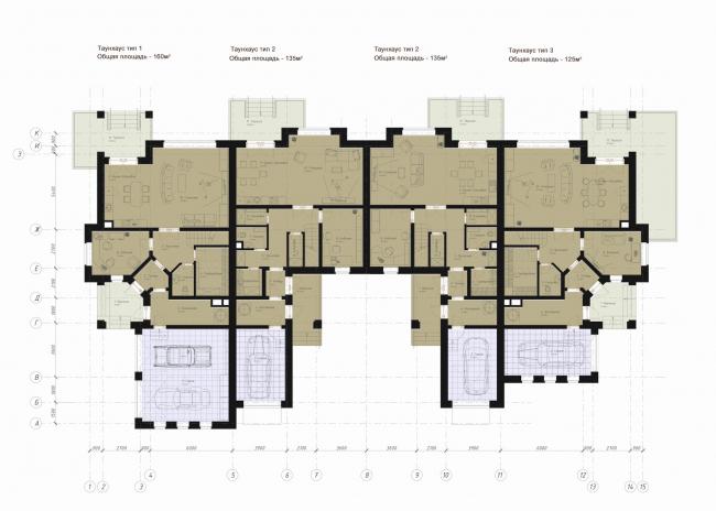 Архитектурно-планировочная концепция жилой застройки в Кирове. Пример варианта застройки в стиле историзма. План. Проект, 2015 © Архстройдизайн