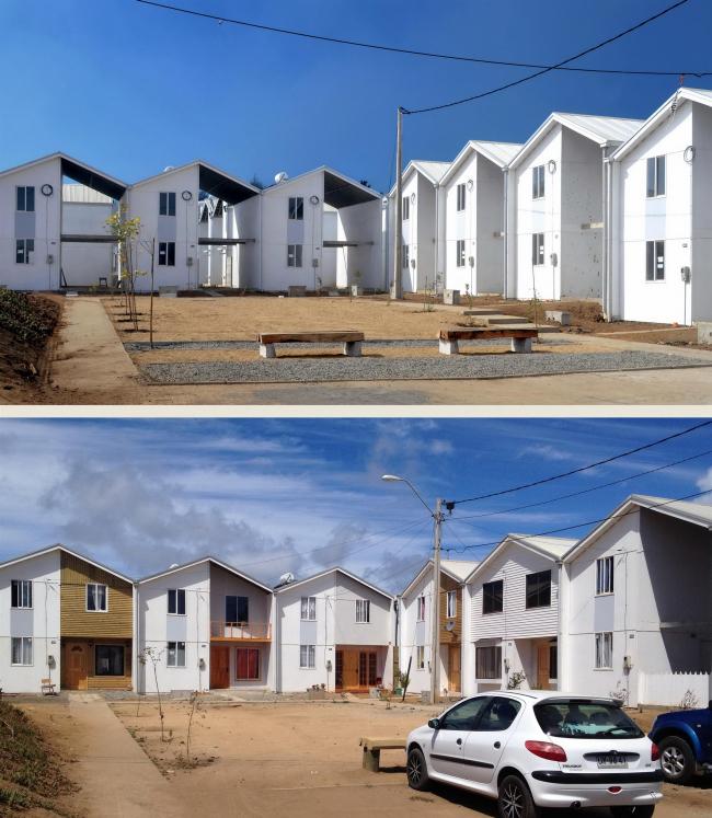 Жилье Villa Verde в Конститусьоне. Фото до и после достройки жителями © ELEMENTAL