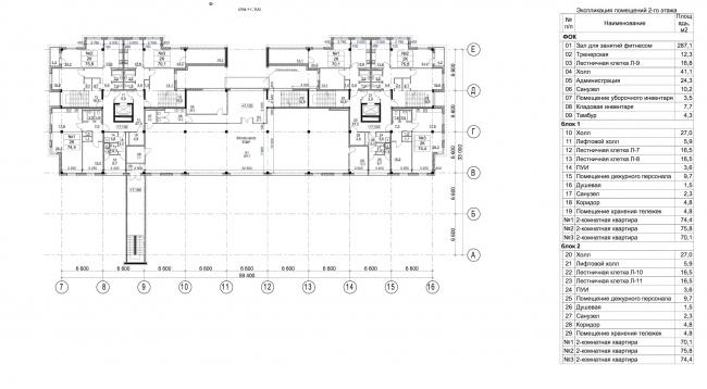 Жилой комплекс в Калуге. План 2 этажа. Апартаменты, ФОК. Проект, 2015 © ГрандПроектСити
