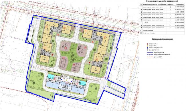 Жилой комплекс в Калуге. Генеральный план. Проект, 2015 © ГрандПроектСити