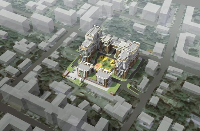Жилой комплекс в Калуге. Вид с высоты птичьего полета. Проект, 2015 © ГрандПроектСити