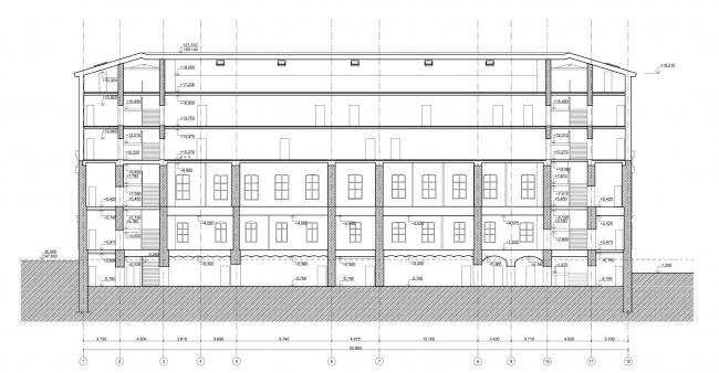 Офисное здание на ул. 2-ая Боевская. Разрез © Архитектурная мастерская Лызлова