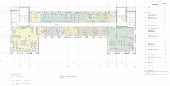 Офисное здание на ул. 2-ая Боевская. Функциональное зонирование 4 этажа © Архитектурная мастерская Лызлова
