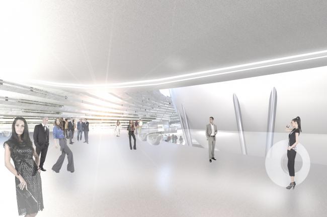 Учебно-исследовательский центр «Газгольдер». Интерьер 1 этажа. Проект, 2011-2013 © db-arch studio