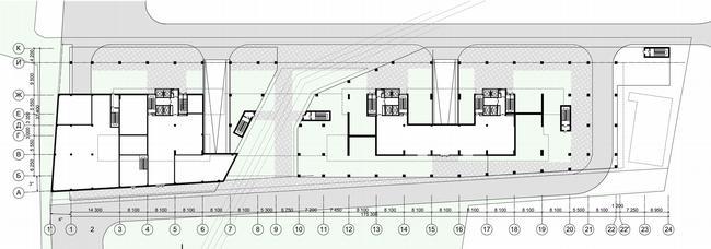 Жилой дом на Нахимовском проспекте. План 1 этажа © Архитектурное бюро Асадова