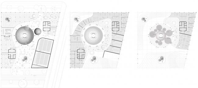 Учебно-исследовательский центр «Газгольдер». Планы 1, 2, 3 этажей. Проект, 2011-2013 © db-arch studio