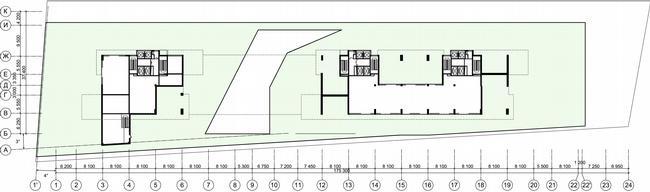 Жилой дом на Нахимовском проспекте. План стилобата © Архитектурное бюро Асадова