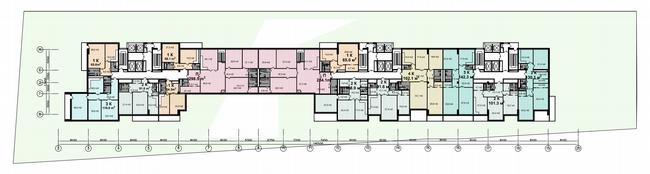 Жилой дом на Нахимовском проспекте. План этажа с «мостом» © Архитектурное бюро Асадова