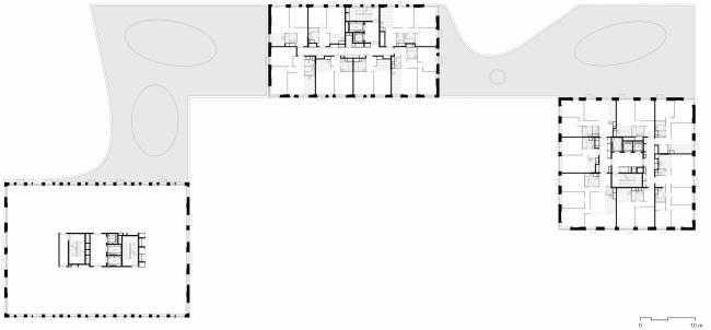 Многофункциональное здание с жилыми и нежилыми помещениями на шоссе Энтузиастов. План типового этажа. Проект, 2015 © ADM