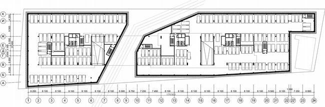 Жилой дом на Нахимовском проспекте. План подземного этажа © Архитектурное бюро Асадова