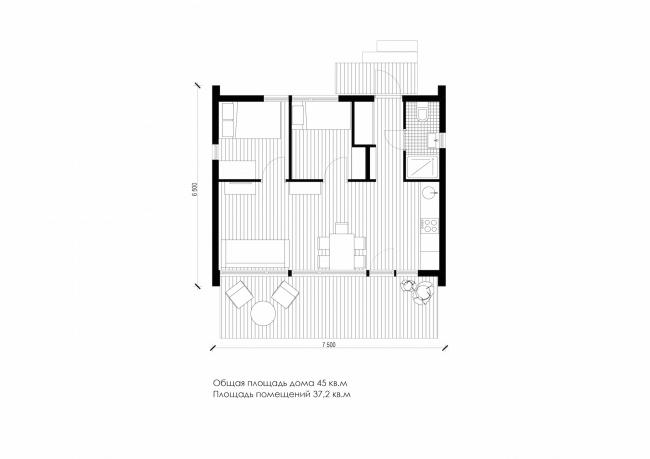 Серия домов «Дом-ковчег». Ковчег-3 (3 модуля). План. Постройка, 2015 © АрхПроект-3