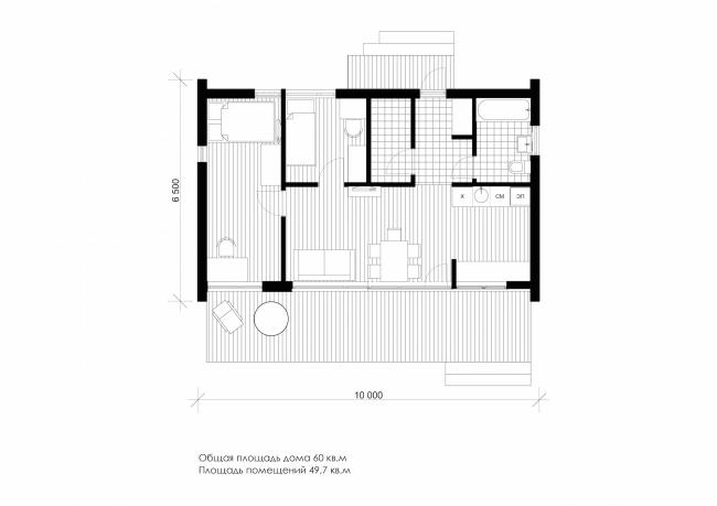 Серия домов «Дом-ковчег». Ковчег-4 (4 модуля). План. Постройка, 2015 © АрхПроект-3