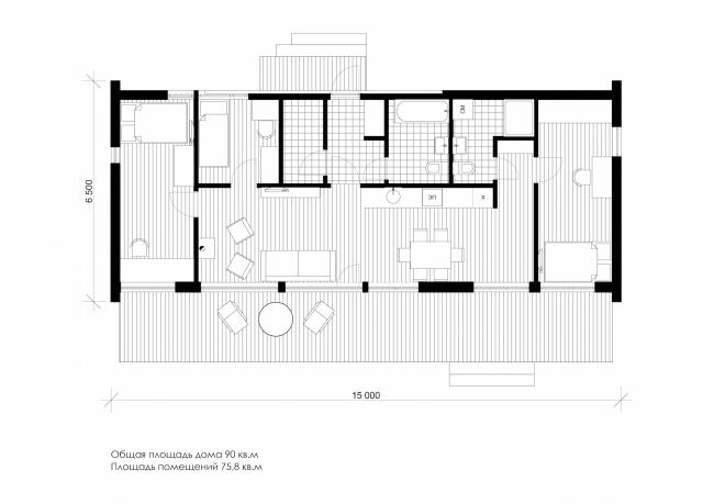 Серия домов «Дом-ковчег». Ковчег-6 (6 модулей). План. Постройка, 2015 © АрхПроект-3