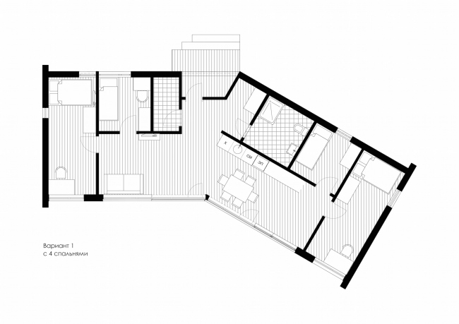 Серия домов «Дом-ковчег». Ковчег-6, поворотный (6 модулей). План. Постройка, 2015 © АрхПроект-3