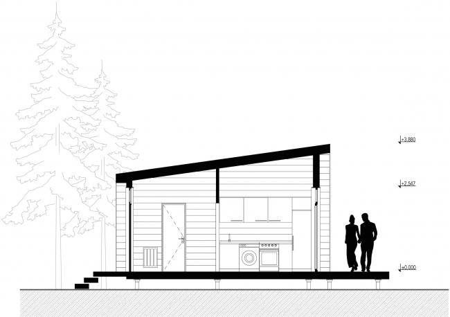 Серия домов «Дом-ковчег». Ковчег-3 (3 модуля). Разрез . Постройка, 2015 © АрхПроект-3