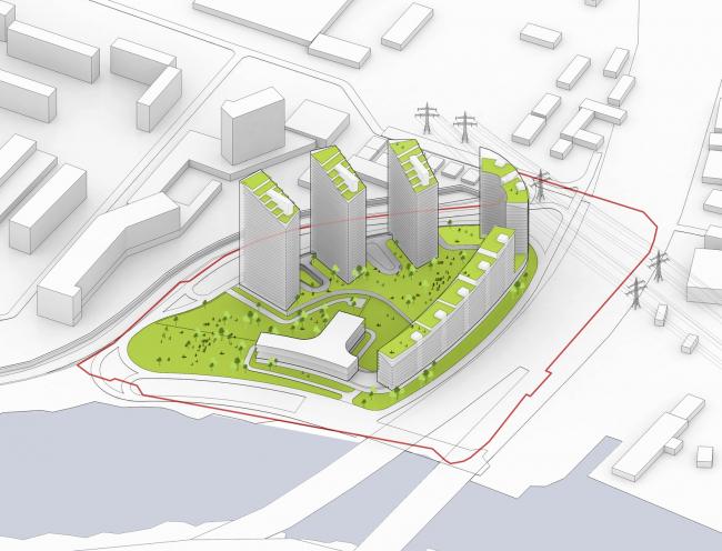 Многофункциональный жилой комплекс на территории завода «Филикровля». Общественные пространства. Проект, 2015 © Архитектурное бюро Асадова