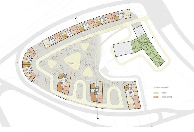 Многофункциональный жилой комплекс на территории завода «Филикровля». План 1 этажа. Проект, 2015 © Архитектурное бюро Асадова