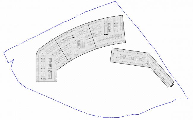 Многофункциональный жилой комплекс на территории завода «Филикровля». План подземного паркинга. Проект, 2015 © ABD architects