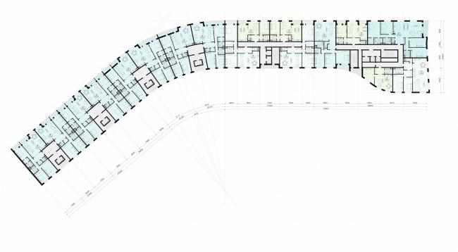 Многофункциональный жилой комплекс на территории завода «Филикровля». План типового этажа секционного дома. Проект, 2015 © ABD architects