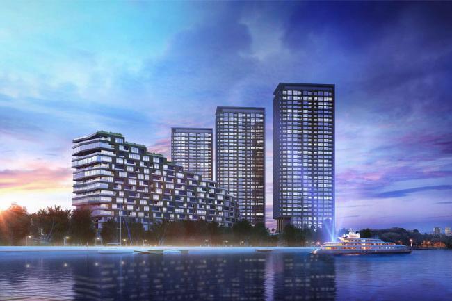 Многофункциональный жилой комплекс на территории завода «Филикровля». Проект, 2015 © ABD architects