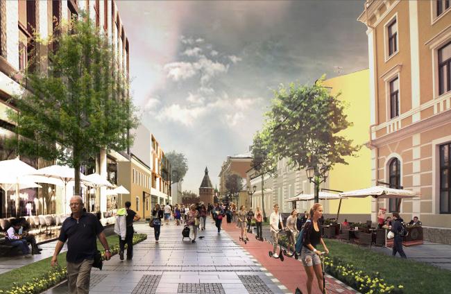 Концепция обновления общественных пространств в Туле. Союзная улица. Проектное предложение, 2015 © Четвертое измерение
