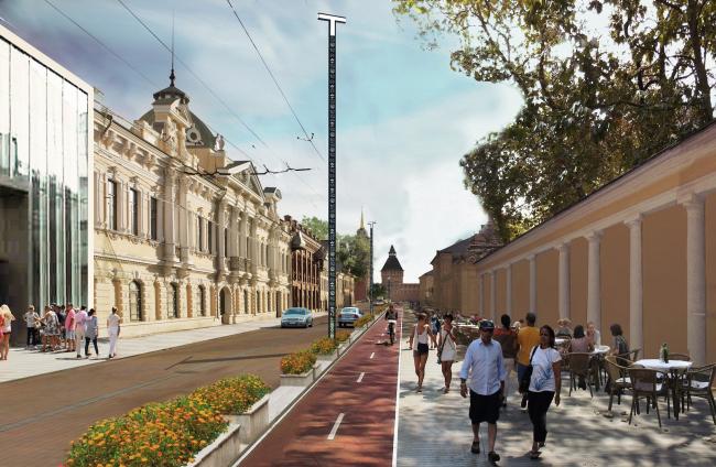 Концепция обновления общественных пространств в Туле. Улица Металлистов. Проектное предложение, 2015 © Четвертое измерение