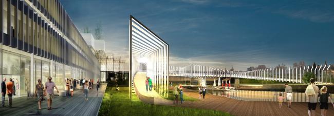 Концепция обновления общественных пространств в Туле. Набережная р. Упы. Пешеходный мост. Проектное предложение, 2015 © Четвертое измерение