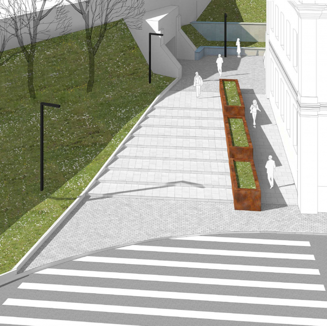 Арма: благоустройство пешеходной зоны. Визуализация, 2014 © Сергей Киселёв и Партнёры