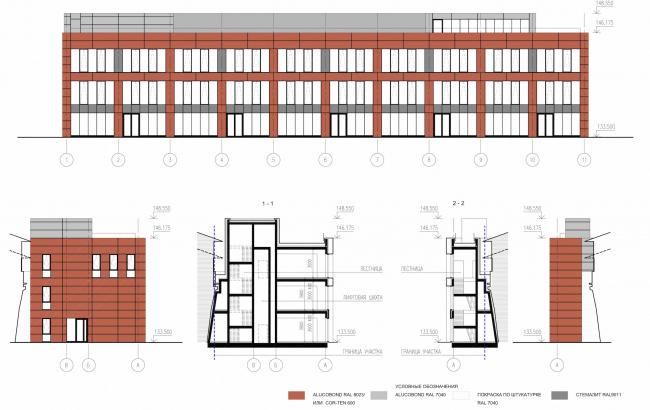 Арма: корпус 13. Фасады и разрезы © Сергей Киселев и Партнеры
